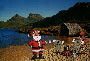 Australian christmas greeting cards explained cradle mountain dove lake and with santa and australian helpers m4hsunfo Choice Image