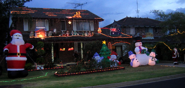 Christmas Kangaroo Lights.Festive Lighting On Our Homes In December In Australia